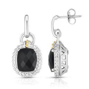 18kt & Sterling Silver Cushion Black Onyx Earring